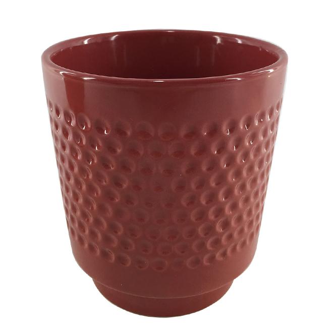 """Glazed Clay Flower Pot - Textured Design - 5"""" x 5.5"""" - Red"""