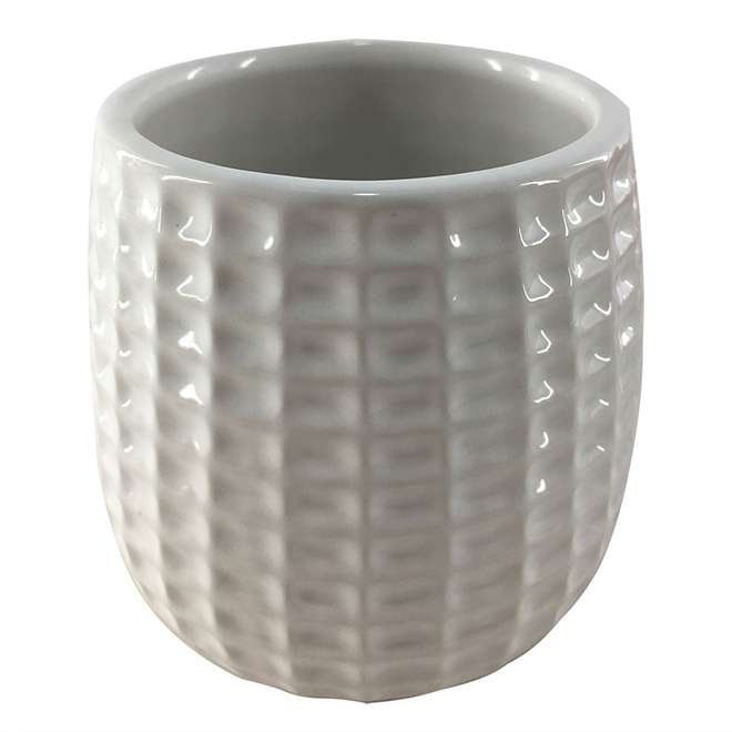 """Glazed Clay Flower Pot - Textured Design - 4"""" x 4"""" - Cream"""
