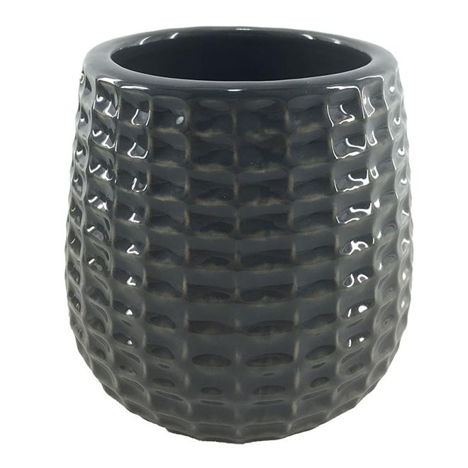 "Glazed Clay Flower Pot - Textured Design - 4"" x 4"" - Charcoal"