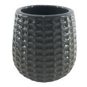 """Pot à fleurs en argile vernie, motif texturé, 4"""" x 4"""", charbon"""