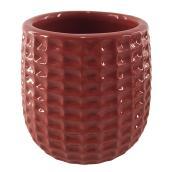 """Pot à fleurs en argile vernie, motif texturé, 4"""" x 4"""", rouge"""