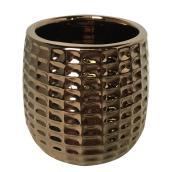"""Pot à fleurs en argile vernie, motif texturé, 4"""" x 4"""", cuivre"""