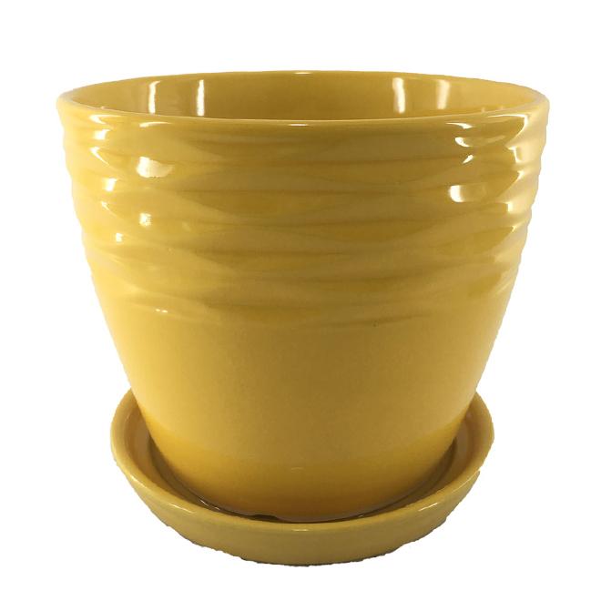 """Glazed Clay Planter Pot - Glossy - 6"""" x 5.9"""" - Yellow"""