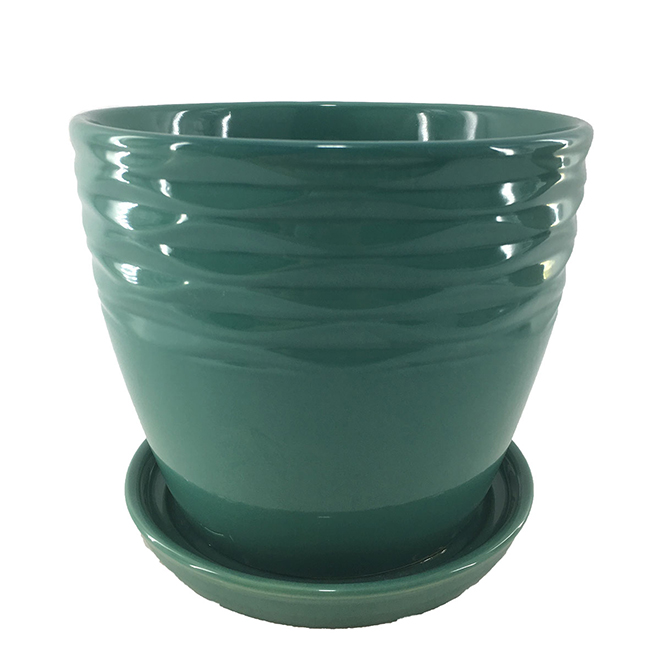 "Glazed Clay Planter Pot - Glossy - 6"" x 5.9"" - Green"