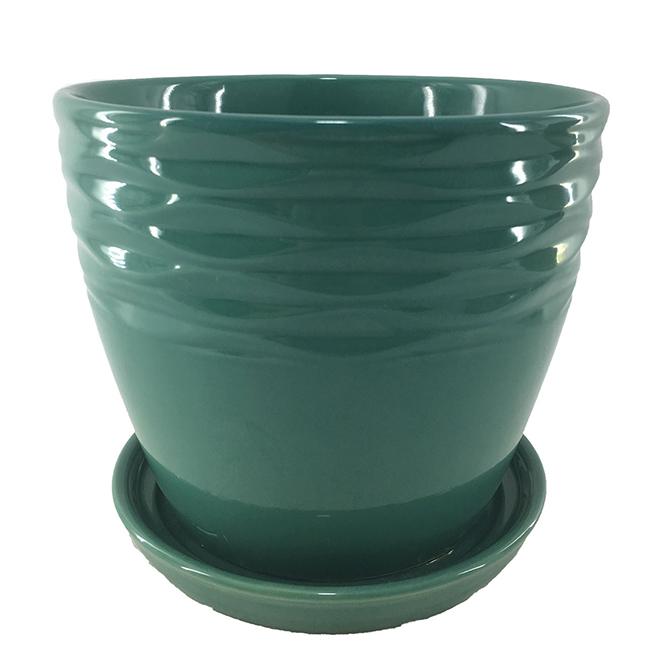 "Glazed Clay Planter Pot - Glossy - 7.5"" x 6"" - Green"