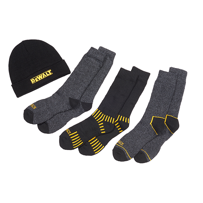 Men's Work Socks and Hat - Poly/Cotton - Black - 4 Pack