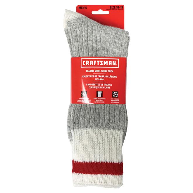 Bas de travail en laine, 3/paires, pour homme 10-13, gris