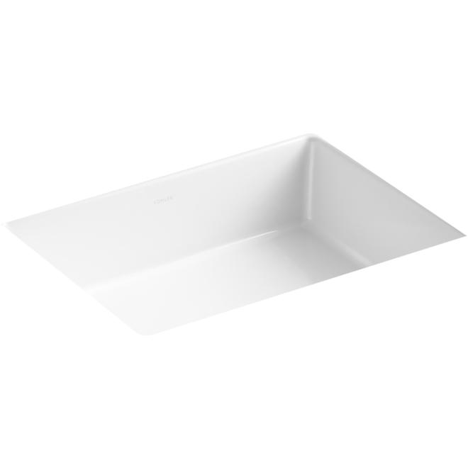 Kohler Built-in Rectangular Bathroom Sink with Vertical Sides - 19.8-in X 15.6-in - White