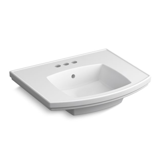 Kohler Elliston Pedestal Sink Basin Porcelain Rectangle White Rona