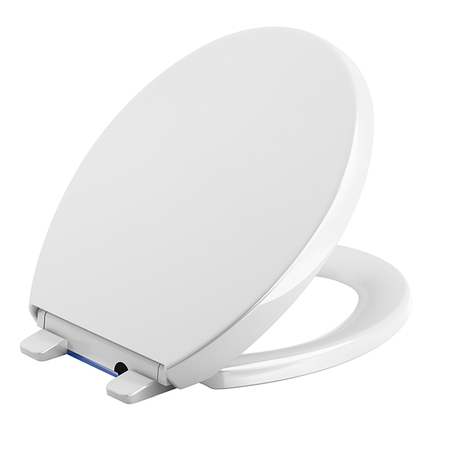Round Front Toilet Seat With Nightlight Plastic White