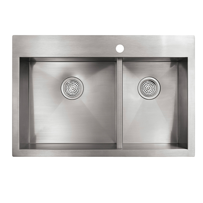 Double Kitchen Sink - 22'' x 33'' x 9'' - Stainless Steel