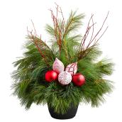 Christmas Arrangement with Ornaments - 9.5-in - Green