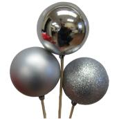 Ball Decorations with Stick - 3-in - Silver - Set of 3