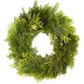 Green Plus Mixed Wreath - 24-in - Green