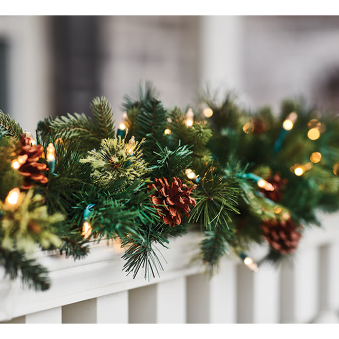 "Illuminated Garland - 9' X 12"" - 100 LED - Color-Changing"
