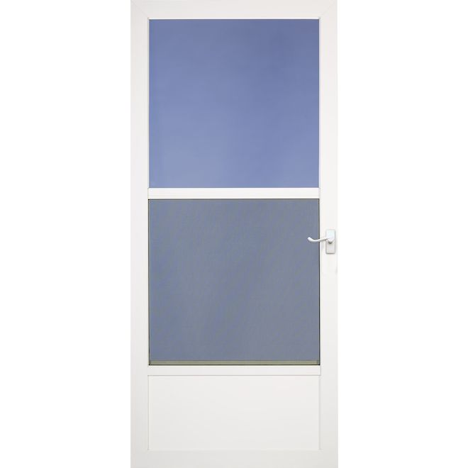 Larson Southport 32-in x 81-in White Mid-View Tempered Glass Storm Door