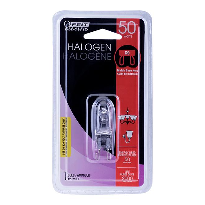 Ampoule halogène T4 50 W, intensité variable, blanc brillant