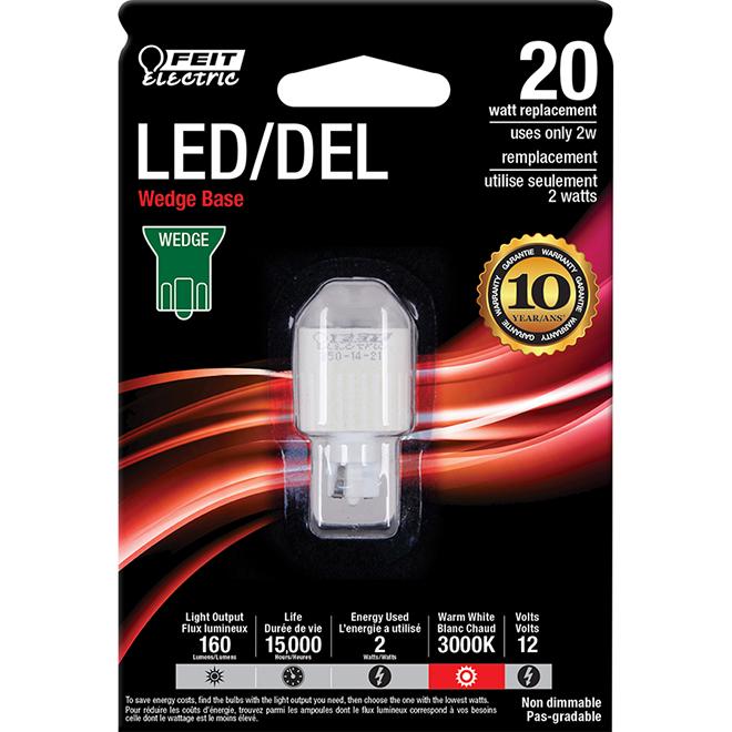 Ampoule DEL à culot poussoir 2 W, non variable, blanc chaud