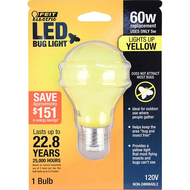 Ampoule DEL anti-insectes Feit Electric, A19, E-26, 60 W, verre, jaune