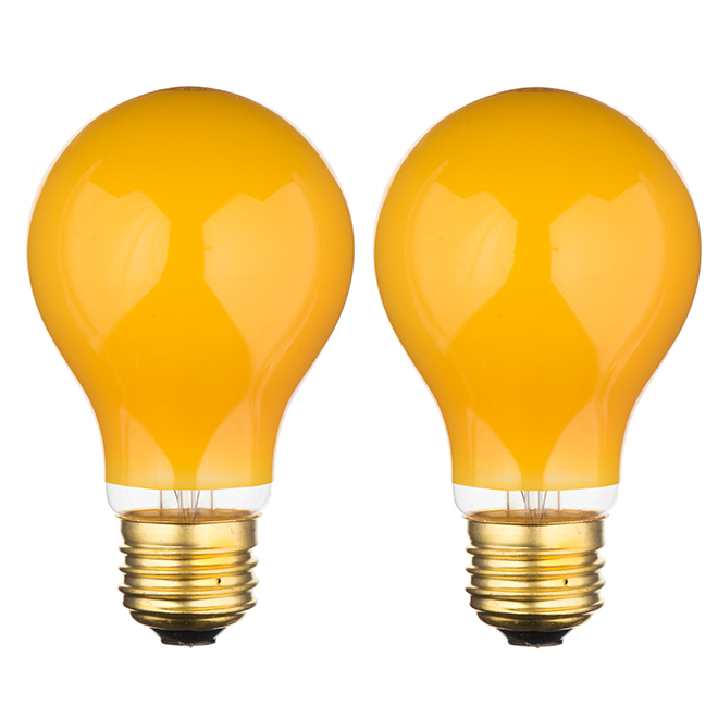 Feit Electric Incandescent Bulb - A19 - 60 W - Yellow - 2/Pack