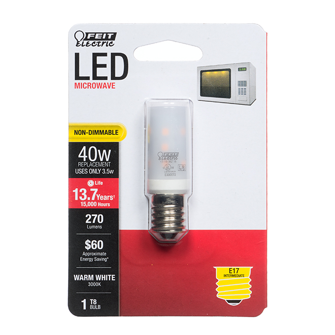 Feit Electric LED Bulb - T8 Microwave - 3.5 W - Warm White