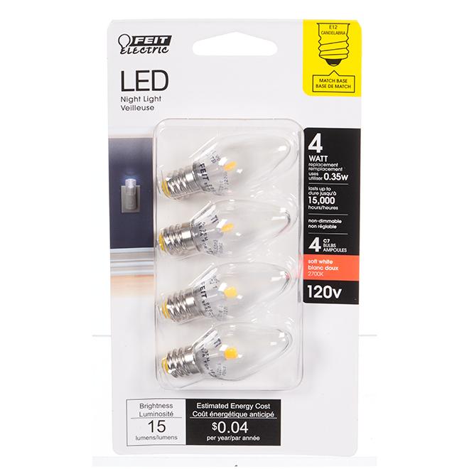 Feit Electric LED Bulb - C7 - 0.35 W - Soft White - 4/Pack