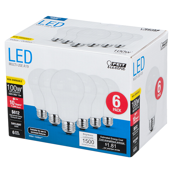 Feit Electric LED Bulb - A19 - 100 W - Day Light - 6/Pack