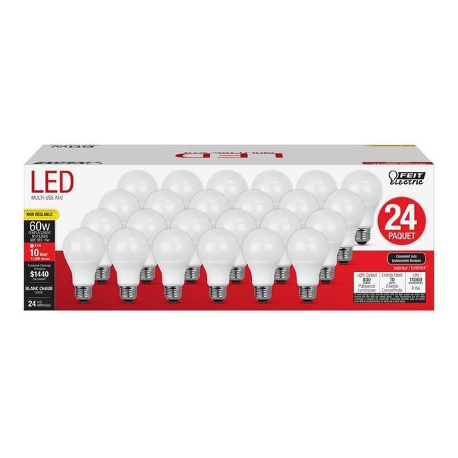 Ampoule DEL A19 Feit Electric, 10 W, non-réglable, blanc chaud, paquet de 24