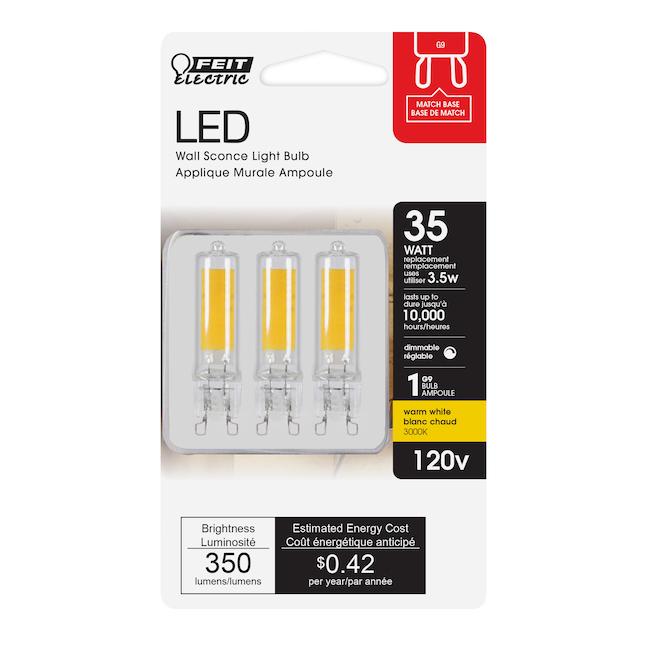 Ampoules DEL Feit Electric T4 G9, équivalent 35 W, lumière du jour, 3000 K, 3/pqt