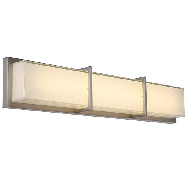 allen + roth Brighton 4-Light Brushed Nickel Modern and Contemporary LED Vanity Light Bar
