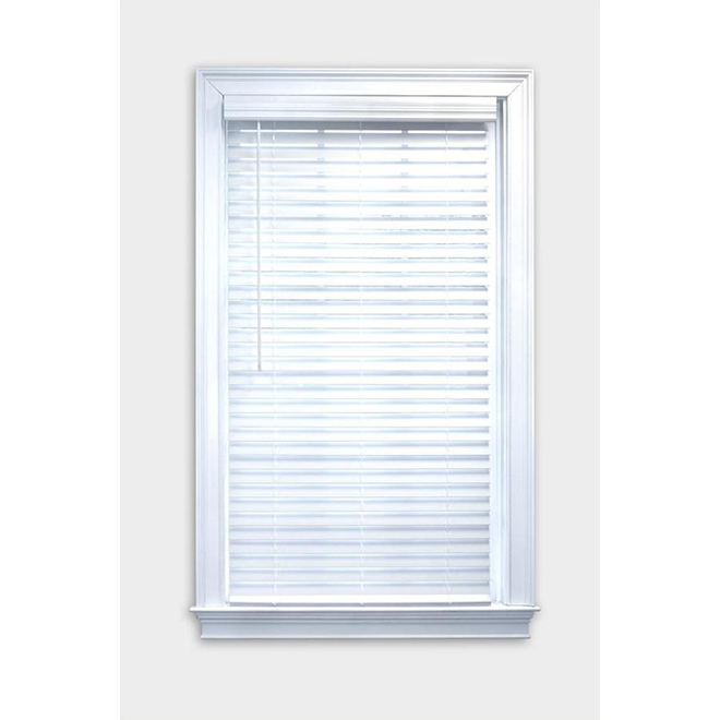 "Cordless Horizontal Blind - Faux Bois - 2"" x 36"" x 72"" - White"