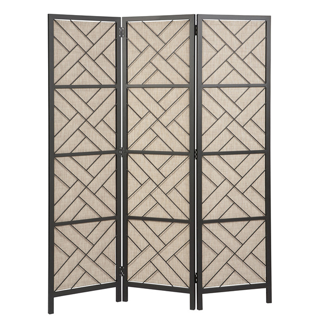 Allen + Roth Privacy Screen - Metal and Sling - Folding - 72-in x 58.7-in - Taupe