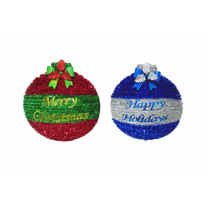 Assorted Holiday Wreaths - 19-in - Red and Green or Blue and Silver