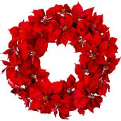 Unlit Poinsettias Wreath - 30-in - Red