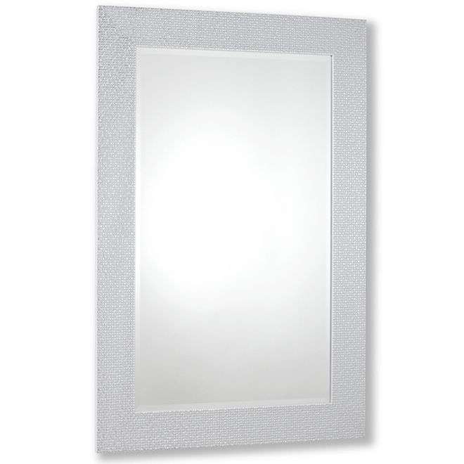 Vanilla Moulding Contemporary Mirror - 23-in x 35-in - White Chrome Mosaic