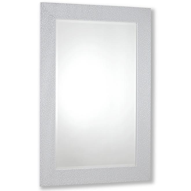 Miroir contemporain Vanilla Moulding, 23 po x 35 po, mosaïque blanc chrome