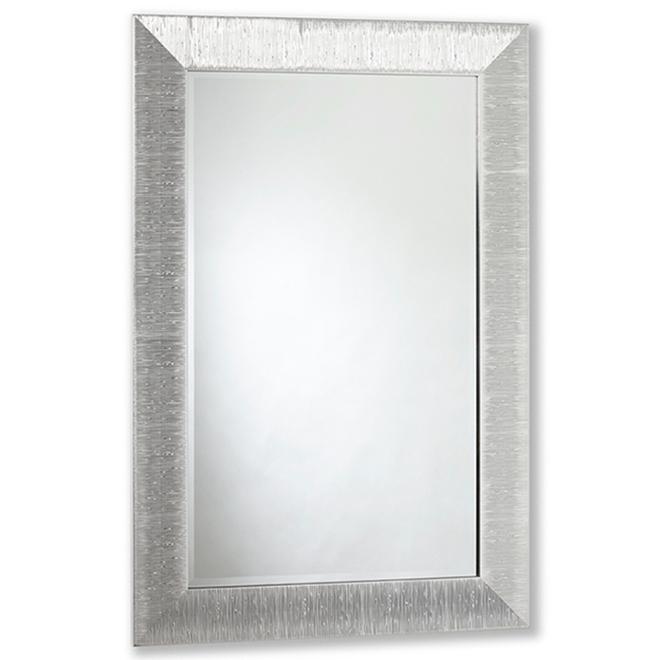 Miroir contemporain Vanilla Moulding, 29 po x 41 po, chrome texturé