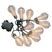 Jeu de 10 lumières DEL sur fil Edison à piles, blanc chaud