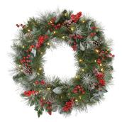 "Lighted Wreath - 30"" - 50 Lights - Laurel Style - Green/Red"
