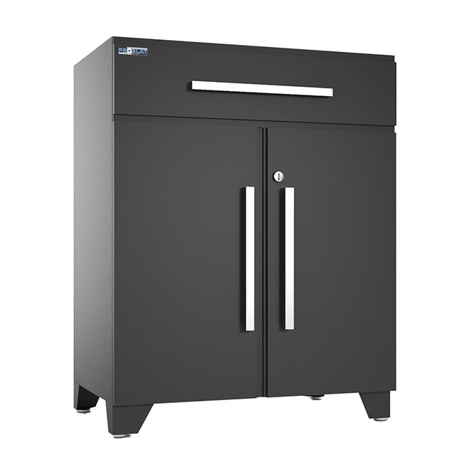 Cabinet de base Proslat Elite en acier, 1 tiroir et 2 portes, gris