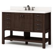 Meuble-lavabo Kingscote de Allen + Roth, 1 lavabo, 2 portes et 8 tiroirs, 34,5 po, espresso, céramique blanche