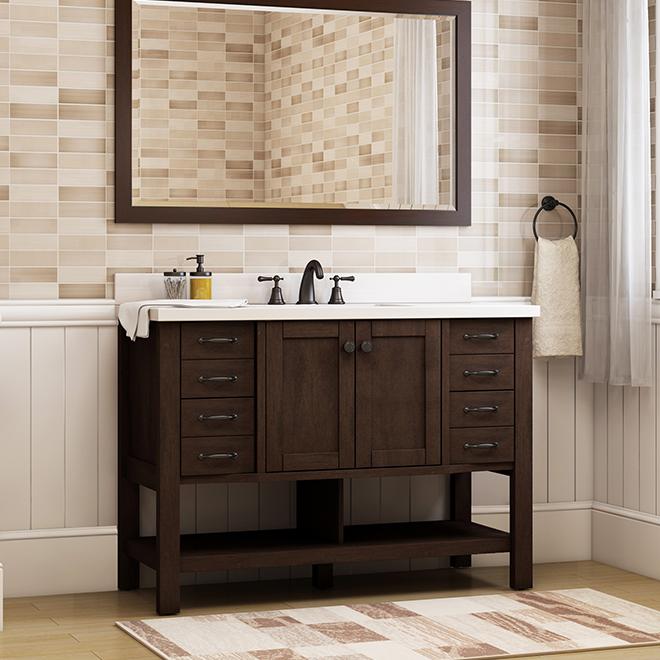 Allen + Roth Kingscote Vanity - 1 Sink - 2 Doors/8 Drawers - 34.5-in - Espresso - White Ceramic