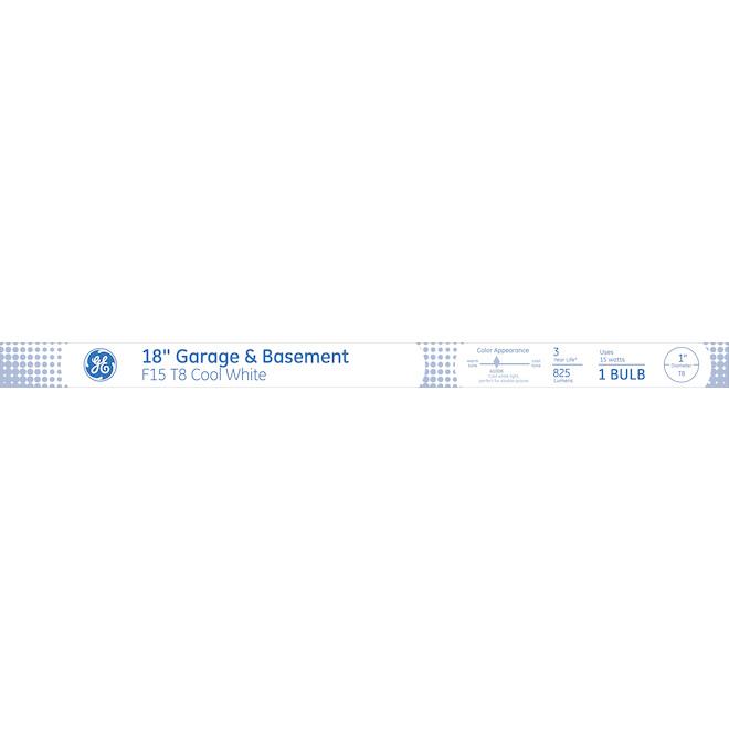 "Fluorescent Tube - F15 T8 - 18"" - 15W - Glass - Cool White"