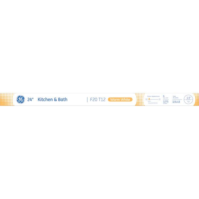 "Tube fluorescent linéaire, F20 T12, 20 W, 24"", blanc chaud"