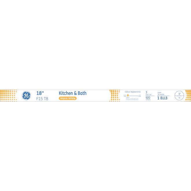 """Fluorescent Tube - F15 T8 - 15 W - 18"""" - Glass - Warm White"""