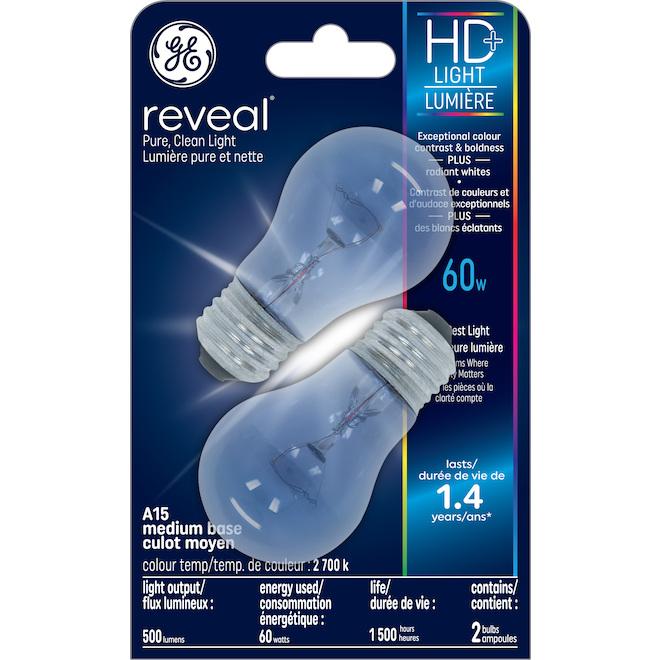 Ampoules incandescentes givrées HD Reveal de 60W, A15 de GE, paquet de 2