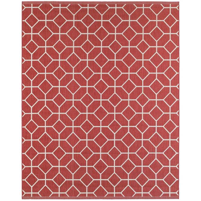 Outdoor Rug with Geometrical Design - 8' x 10' - Red