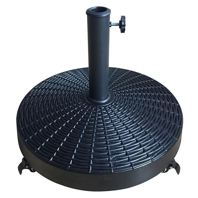 "Concrete-Filled Resin Round Wheeled Umbrella Base - 21"""