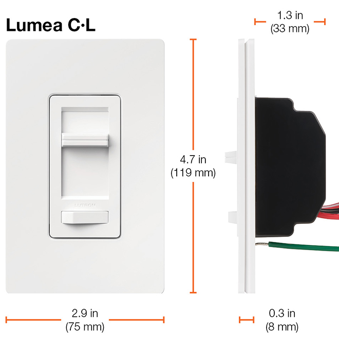 Lutron LED and CFL Dimmer Lumea - 150 W - Plastic - White