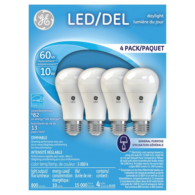 LED A19 Bulb - Dimmable - 10W - Daylight - 4PK